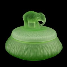 Elephant Powder Jar Green Satin Depression Glass Greensburg Glass Works *I own this
