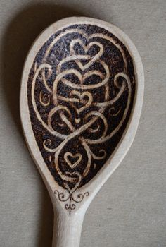 Wooden spoon decorated with pyrography can be by tricianewell