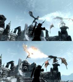 #Skyrim Dragon fight via Reddit user RadWalk