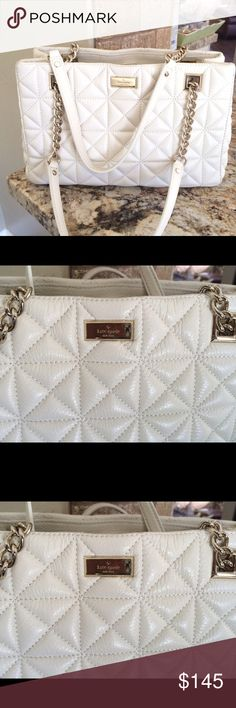 KATE SPADE BAG Very cute quilted Leather bag in overall amazing condition..show very little sign of wear at bottom corners.. Of-white/ Cream color Measurements W12'in H8'in D5'in                   15% BUNDLE DISCOUNT TV $225 kate spade Bags