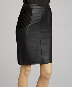 Take a look at this Black Ribbed Knit Faux Leather Pencil Skirt - Women by 555 Los Angeles on #zulily today!