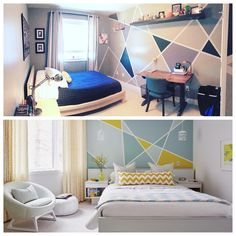 How awesome is this! a mom of four from Langley, BC, created her own bold geometric wall treatment for her 16 year old son's…