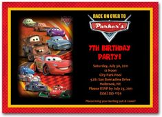 Cars Birthday Invitation | personalized cars invitation | cars birthday party  #carsinvitations #disneycarsinvitations #disneycarsparty