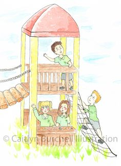 On the Playground - Art prints by Caitlyn Burchell Illustration Playground, Watercolor Paintings, To My Daughter, Design Ideas, Colour, Art Prints, Illustration, Pictures, Children Playground