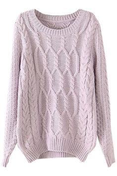 ROMWE | Twisted Knited Loose Light-purple Jumper, The Latest Street Fashion