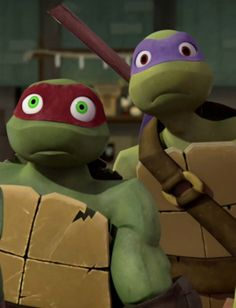 "Donnie and Raphael. Raphael looks scared and Donnie is just like "" Wai- wuhhh??"""