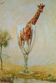 The cut-glass bath Rene Magritte . 1937 by Rene Magritte, Brussels pre-war and war years. Rene Magritte, Artist Magritte, Conceptual Art, Surreal Art, Magritte Paintings, Klimt, Animal Paintings, Cut Glass, Giraffes
