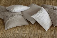 Linen throw pillow covers in natural colors