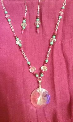 Pink, turquoise, copper, and crystal necklace