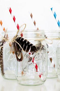 mason jar feathers {abby hunter via shop sweet lulu}