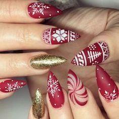 Christmas Nail Designs, winter nails, Christmas nails, festive nails, acrylic na… - White Nail Art, Blue Nail, Red Nail, Black Nails, White Shellac, Red And White Nails, White Polish, Gold Polish, White Art