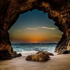 View from inside a cave on the beach, looking out at the sunset, Ferragudo, Portugal. The Magic Cave Wall Art apart of The Pixoto Collection, By: Andre Afonso from Great Big Canvas Beautiful Sunset, Beautiful World, Most Beautiful Pictures, Beautiful Things, Beautiful Places To Travel, Nature Photos, Amazing Nature Pictures, Pictures Of The Beach, Belle Photo
