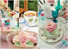 Cakes in tea cups