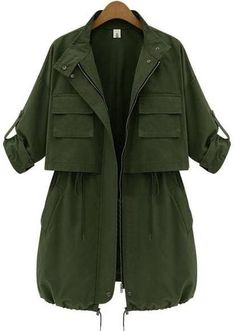 To find out about the Army Green Long Sleeve Drawstring Pockets Trench Coat at SHEIN, part of our latest Outerwear ready to shop online today! Moda Outfits, Edgy Outfits, Fashion Outfits, Womens Fashion, Trench Coat Outfit, Coat Dress, Green Trench Coat, Trench Jacket, Mode Sombre