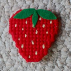 "Plastic Canvas: Strawberry Magnets (set of 3), ""Ready, Set, Sew!"" by Evie (Etsy)"