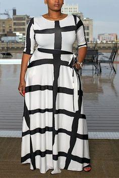 White Fashion Waist Slim Stripes Positioning Print Large Size Dress Wine Red Dress, Hot Dress, Jumpsuit Dress, Plus Size Mini Dresses, Plus Size Outfits, Red Fashion, White Fashion, Style Fashion, Girl Fashion