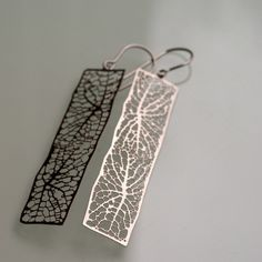 stainless steel earrings, intricate organic leaf jewelry