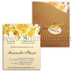 Convite casamento para o campo.  www.artinvitte.com  Modelo Haia HA 019   Convites de casamento   Convites Rústicos   Convites Florais