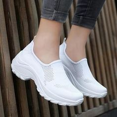 Shoe Type Sneakers Toe Type Round Toe Closure Type Slip-on Heel Type Flat Heel Heel HeightFlat Upper Material Mesh Outsole Material Rubber Gender Women Style Casual Theme All Seasons Occasion Going out,Sport Types Of Shoes, Potato Salad, Fall Outfits, Going Out, Slip On, Recipe, Heels, Womens Fashion, Sneakers