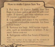 how to make sun tea when it stops raining im going to try this :)