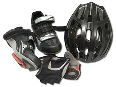 Bicycle Helmet, Gloves, and Shoes