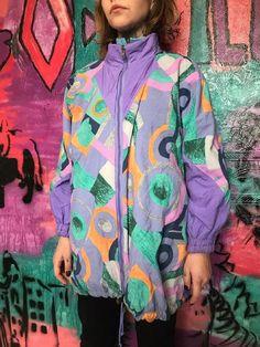 6bc3c2347b5 Multicolor Rave Jacket Mens Womens Unisex Retro Windbreaker 90s 80s Vintage  Track jacket Party jacke