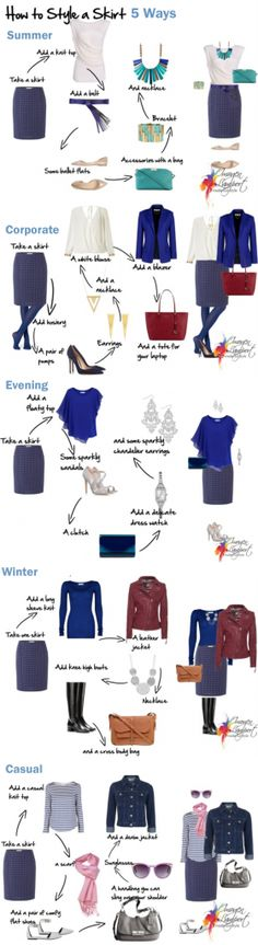 how to style a skirt 5 ways