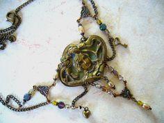 Art Nouveau Bronze Necklace by CoCoJoJoOriginals on Etsy