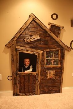 Playhouse in a spare closet - would also be awesome as a mechanic's garage or a tree fort