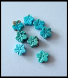 8Pcs Lot!Turquoise Gemstone Flower Carved Cabochons  Turqouise gemstone carvings,hand ccarved and well polished gemstone carvings from Gemrockauctions