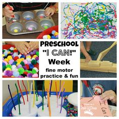 I Can Week in preschool – fine motor activities that build confidence and practice skills Check out these ideas from Mom to 2 Posh Lil Divas. Great for playgroup! Preschool Classroom, Preschool Learning, Toddler Preschool, Fun Learning, Toddler Activities, Preschool Activities, Teaching, Motor Skills Activities, Fine Motor Skills
