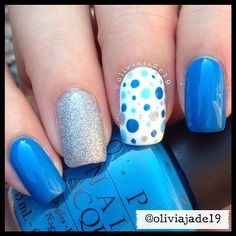 Polishes used: OPI Ogre The Top Blue, What's With The Cattitude, Alpine Snow and CG Glistening Snow Dot Nail Art, Polka Dot Nails, Blue Nails, Polka Dots, Nail Polish Designs, Cute Nail Designs, Simple Designs, Hot Nails, Hair And Nails