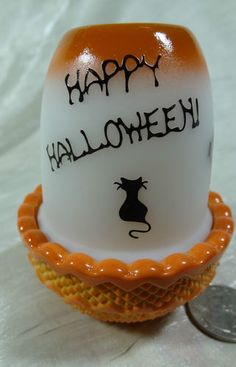 Halloween Candle Fairy Lamp Airbrushed Sand Carved Happy Halloween Black Cats | eBay
