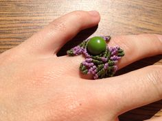 Size 8 Macrame ring with acai seed by creationsmariposa on Etsy