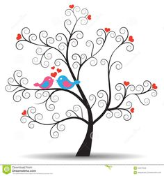 27 Ideas For Tree Silhouette Stencil In Love Bird Clipart, Tree Clipart, Wedding Silhouette, Bird Silhouette, Tree Of Life Art, Tree Art, Wedding Clip, Wedding Art, Quilling Patterns