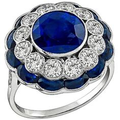 Preowned Attractive 3.54ct Sapphire Diamond White Gold Ring ($8,450) ❤ liked on Polyvore featuring jewelry, rings, white, white gold rings, round cut rings, white gold jewellery, 18k white gold ring and diamond rings