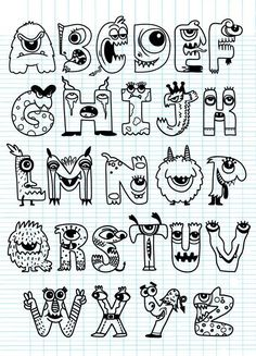Halloween alphabet with funny monster characters,Monster Cartoon font lettering hand lettering calligraphy brush lettering tutorial art Hand Lettering Alphabet, Doodle Lettering, Creative Lettering, Lettering Styles, Cool Fonts Alphabet, Doodle Alphabet, Alphabet Board, Alphabet In Different Fonts, Font Styles Alphabet
