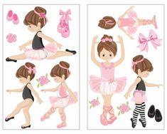 14-teiliges Rosa Ballerina Mädchen Wandtattoo Set. Rosa Ballerina Mädchen Wandaufkleber Set