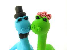 Dino love, custom wedding cake topper, bride and groom by yaelsplace on Etsy https://www.etsy.com/listing/103880111/dino-love-custom-wedding-cake-topper