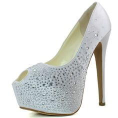 Save 10% + Free Shipping Offer * | Coupon Code: Pinterest10 Material: Man Made Material.Approx 6 inch heels 2 1/2 inch platform. Model feedback (Sizing Info: True to size) This very sassy pump is a must have! Sparkle and shine like a star when you hit the street with these stunning pumps! It features peep almond toe, scooped vamp, rhinestone crystones over a shimmering silky satin fabric upper with treading, tribute platform, and stiletto heel. Finish with cushion foot-bed and satin fabric…