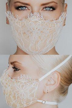 Mouth Mask Fashion, Fashion Face Mask, Diy Mask, Diy Face Mask, Fashion Bubbles, Bridal Mask, White Face Mask, Lace Mask, Brokat