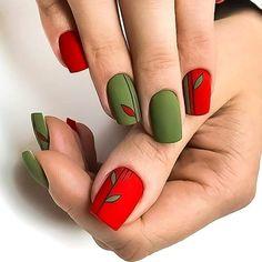 Pretty Matte Nail Art Designs Ideas This Winter Matte Nail Colors, Matte Nail Art, New Nail Art, Best Acrylic Nails, Cool Nail Art, Green Nail Art, Green Nails, Hair And Nails, My Nails