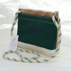 Recycled Sail, Upcycled Canvas, Forest Green, Crossbody bag, sail cloth, vegan purse, eco friendly
