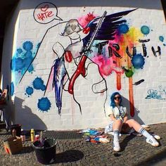 Lora Zombie for Urban Nation Berlin, 2016 Amazing Street Art, Street Artists, Urban Art, Graffiti, Contemporary Art, Painting, Berlin, Facebook, Pickle