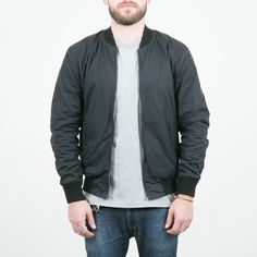 3Sixteen - Waxed Stadium Jacket Black