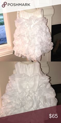 🛑 Beautiful White Ruffle Dress Trimmed in Pearls Excellent Used Condition, perfect for Easter or Pageant. Handmade fits size 24 months to 2t Dresses Formal