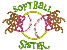 Softball sister with pigtails applique and by PerfectPretties, $4.00