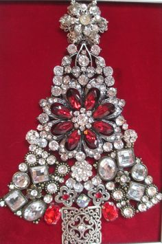 Jeweled Framed Christmas Tree Silver Vintage by audreymivey