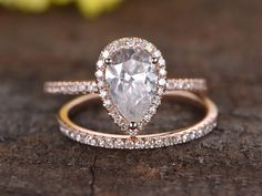 1.5 Carat Pear Shaped Moissanite Engagement Ring Set Diamond Matching Band 14k Rose Gold Halo Stacking Thin