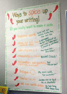 Love this anchor chart for spicing up writing - great tips for developing writers!